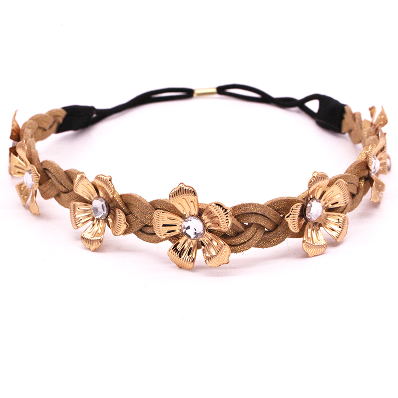 Metting Joura 2017 New Brown Neylon Fabric Knitted Headbands Metal Flower Hairbands For Women Hair Accessories