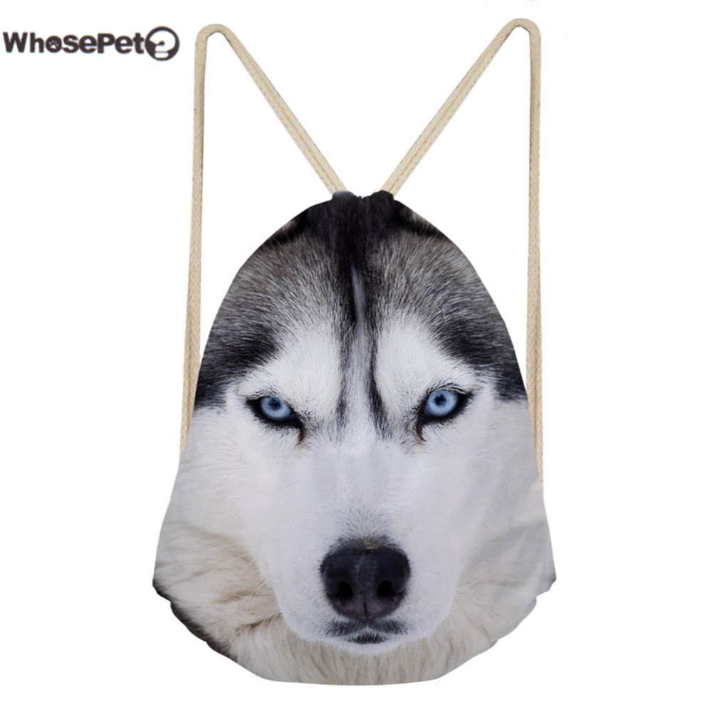 WhosePet Draw String Bag Backpacks Mini Sackpack Dog Printing Schoolbag for Kids Boys Girls Shoulder Bags Backpack Beach Daypack