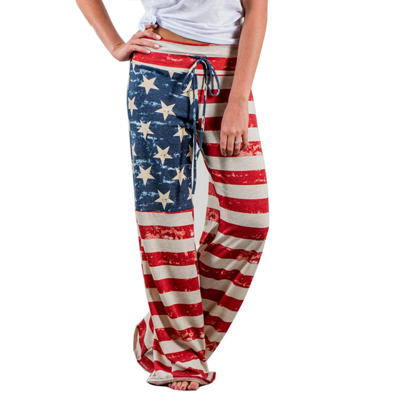 2019 Women Loose   Wide     Leg     Pants   Causal Long Straight Trousers American Flag Print   Pant   Drawstring Trouser Pajama   Pants   Plus Size