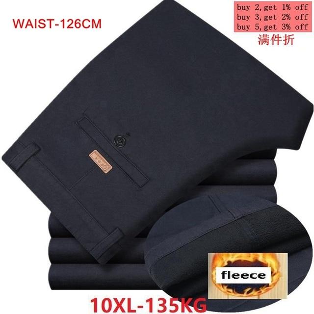 Kış sonbahar erkek pantolon polar sıcak 6XL 7XL 8XL 9XL 10XL büyük boy büyük boy elbise günlük giysi pantolon haki iş