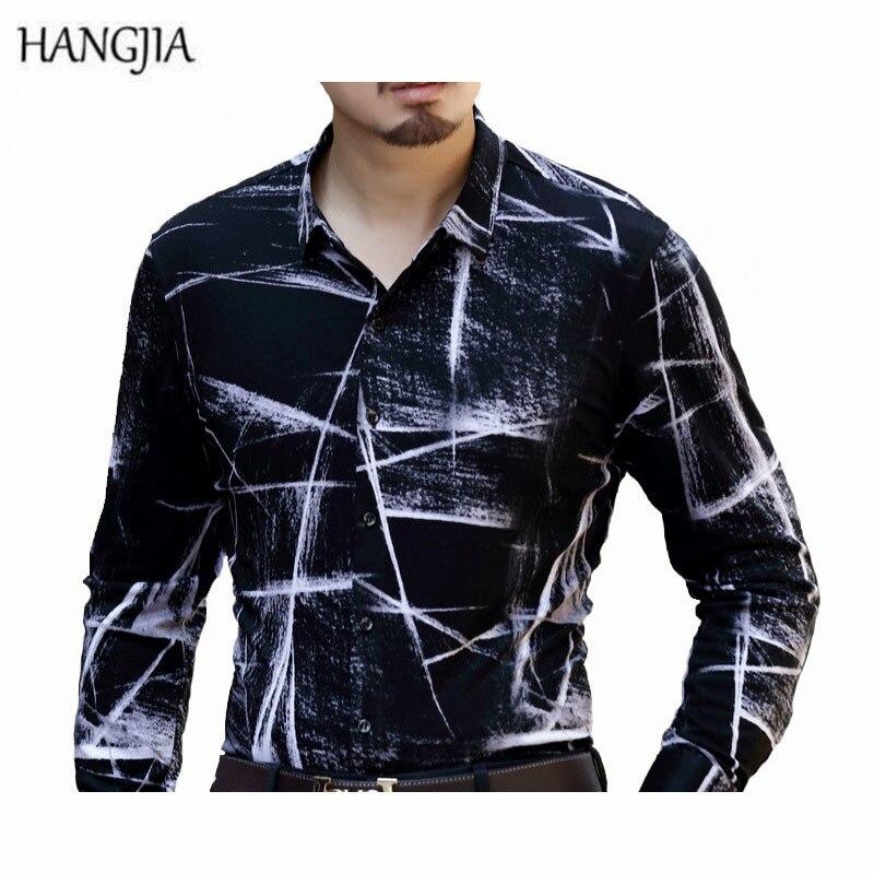 [HANGJIA] Mens Double Silk Cotton Black/White Patchwork Print Shirt Comfortable Casual Men Slim Shirt Long Sleeve Shirts M-4XL ...