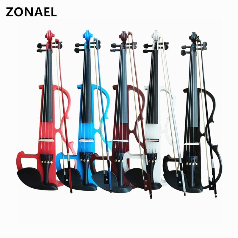 ZONAEL Full Size 4/4 In Legno Massello Silenzioso Violino Elettrico Violino Corpo in Acero Tastiera In Ebano Pioli Mentoniera Cordiera