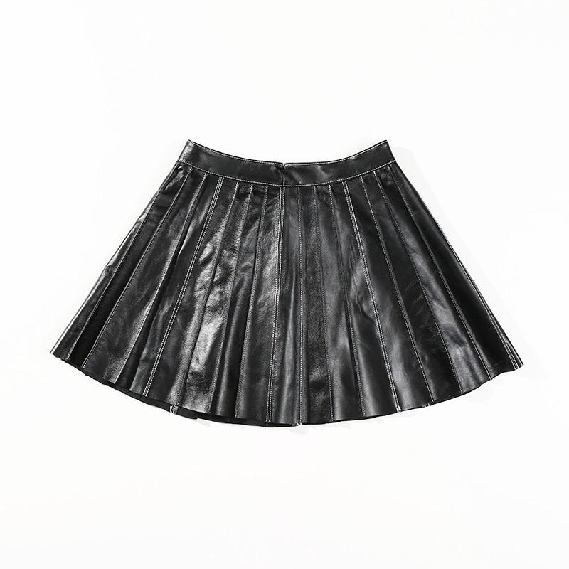 2019 New Autumn Skirts Women Black Vintage High Waist Black Leather Sexy Short Mini Skirts Korean Style Pleated Leather Skirts in Skirts from Women 39 s Clothing