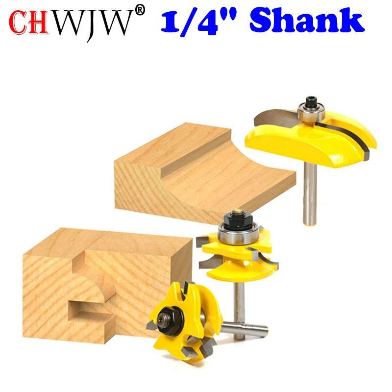 3pcs 1/4 Round Rail&Stile Router Bits Set Cove Raised Panel Tools Wood Cutting High Quality Wooden CNC endmill