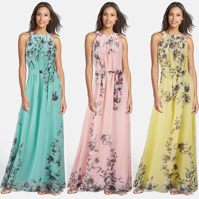 verano estilo mujeres long dress o cuello de la impresión floral gasa maxi boho