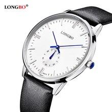 2016 longbo Nueva Masculino Función Cronógrafo Para Hombre Relojes de Lujo del Cuero Genuino Para Hombre de la Marca Militar reloj de Pulsera