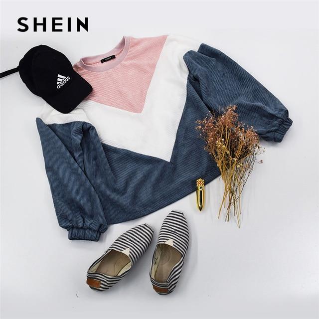 SHEIN Multicolor Cut and Sew Chevron Sweatshirt Preppy Round Neck Bishop Sleeve Pullovers Women Autumn Colorblock Sweatshirts