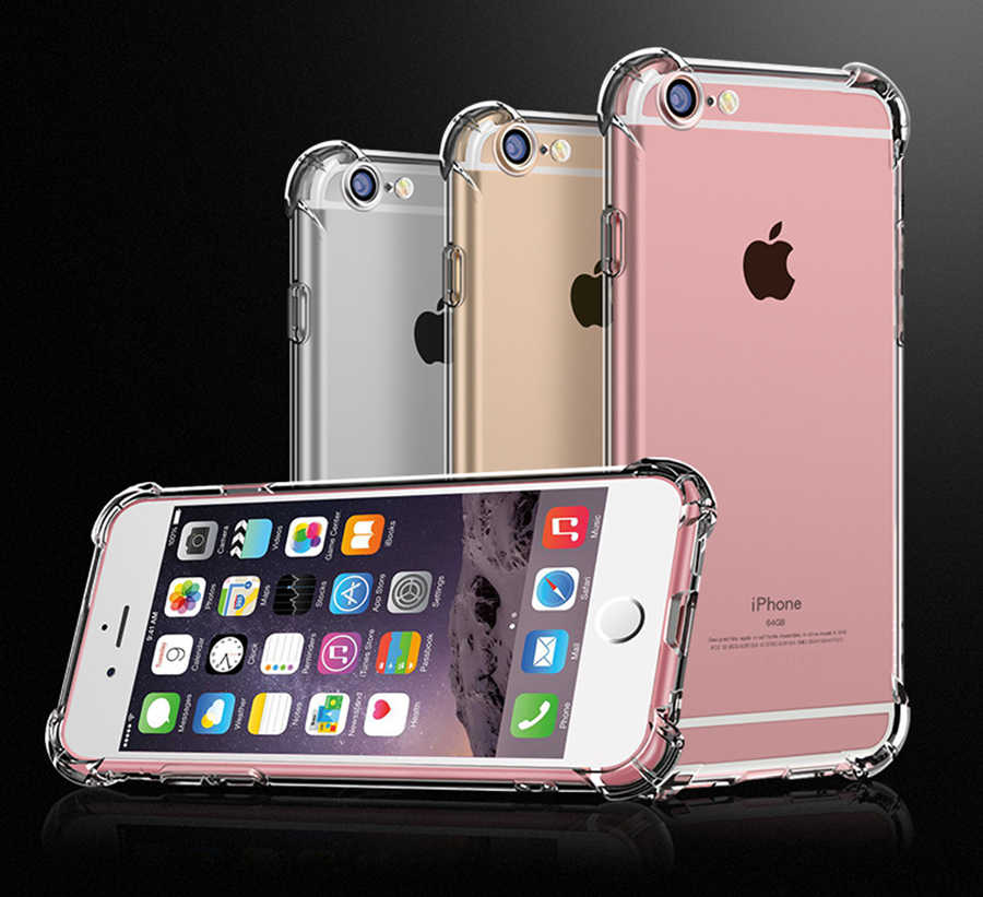 Super Shockproof Clear Soft Case for iPhone 5 5S SE 8 7 6 Plus 6SPlus 7Plus 8Plus X S R MAX Silicon Luxury Cell Phone Back Cover