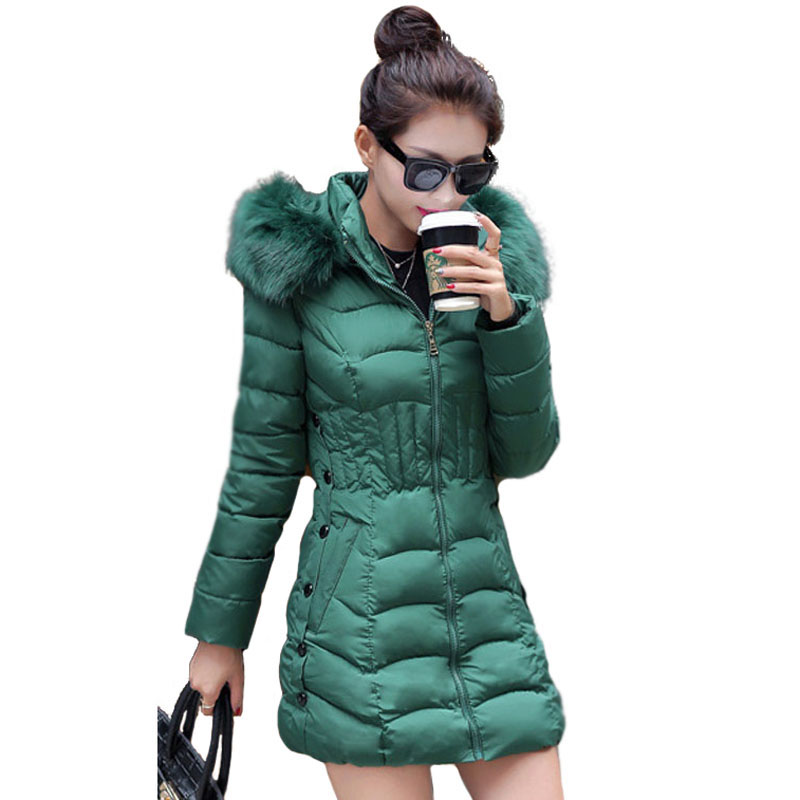Fashion Korean Quilted Jacket Winter Women Down Cotton Padded Coat Hooded Fur Collar Slim Fit Womens Winter Warm Outwear Parka hooded collar korean new 2014 winter clothing full sleeve solid down jacket slim women casual cotton padded coat ly1066