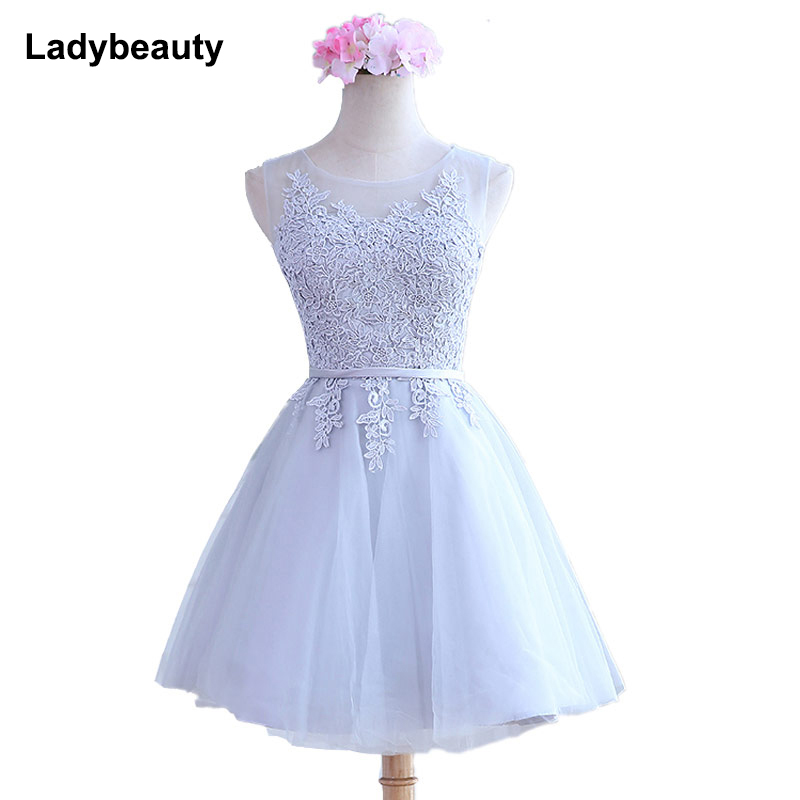 Ladybeauty vestidos de fiesta 2018 Ready To Ship In Stock For pink color Embroidery Scoop Short Cute Robe De   Cocktail     Dresses