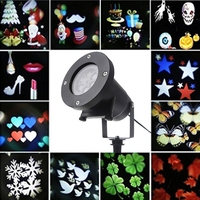 Waterproof Projector Rotating Landscape Lamp 12 Switchable Pattern LED Spotlight Christmas Party T22