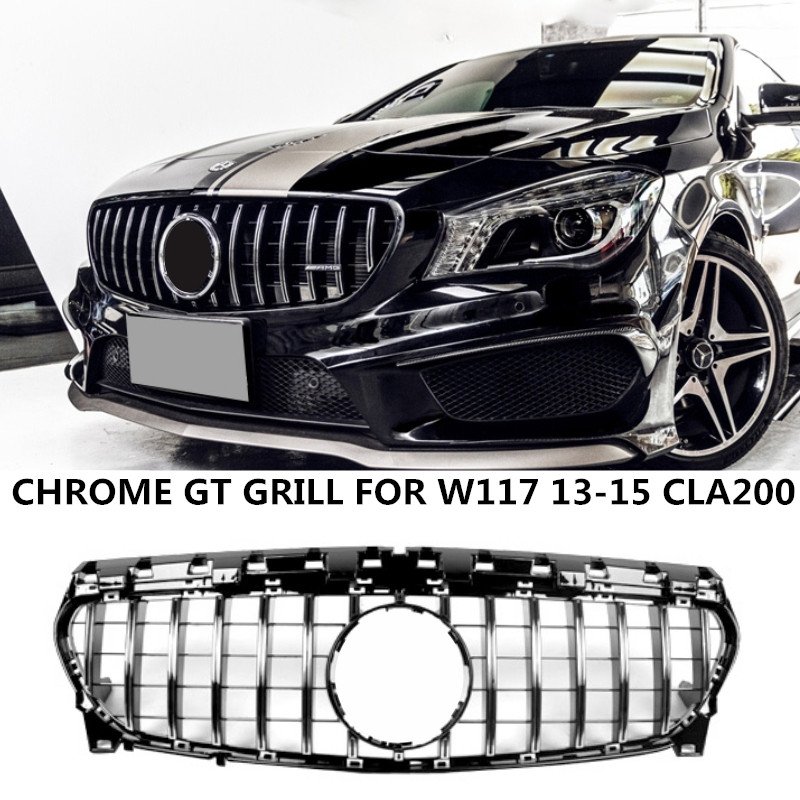 GT Style Grill For Mercedes CLA-Class W117 CLA200 <font><b>CLA250</b></font> CLA45 AMG 2013-2015 Chrome ABS Front Bumper Grille Without Emblem image