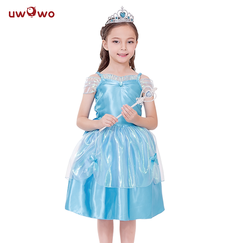 UWOWO  Anime Frozen Elsa Dress Cosplay Halloween Costume For Kids Child Baby Costume Frozen Elsa Cosplay Princess Dresses Crown