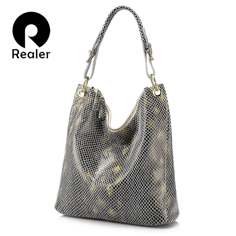 REALER brand shoulder bags serpentine prints genuine leather women bag Fashion casual handbags 2017 Tote bag lady crossbody bags women shoulder bags leather handbags shell crossbody bag brand design small single messenger bolsa tote sweet fashion style