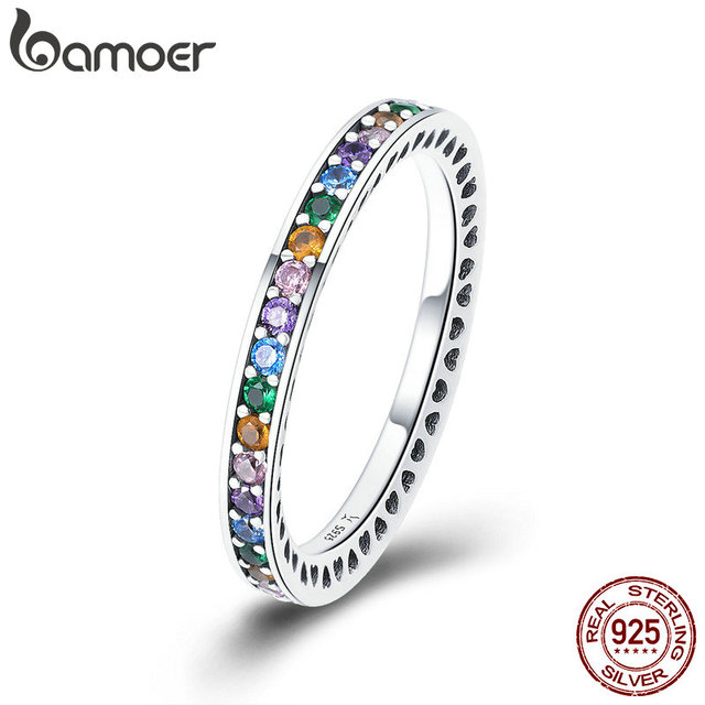 BAMOER Genuine 100% 925 Sterling Silver Colorful CZ Crystal Round Pave Finger Ri