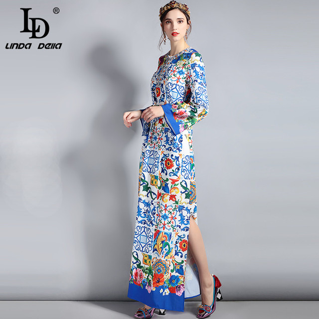 Spring Maxi Dress Women's Long Sleeve Belt Gorgeous Floral Print Long Dress Plus Size