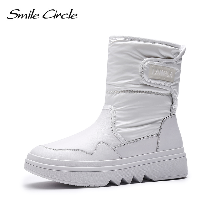 Smile Circle Winter Shoes Snow boots Women Genuine Leather Waterproof Thick bottom Flat platform Boots Winter Warm plush Shoes women boots 2018 thick plush warm leather women winter shoes waterproof platform ankle snow boots
