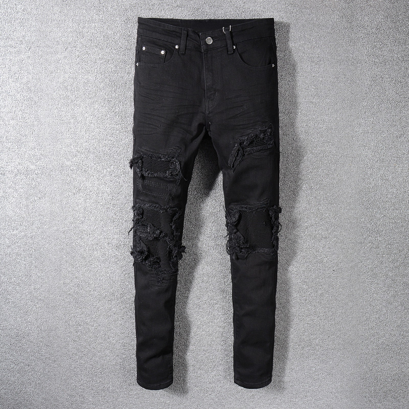 Fashion Streetwear Men Jeans Black Color Patchwork Destroyed Denim Pencil Pants Ripped Jeans For Men Hip Hop Skinny Jeans Hombre