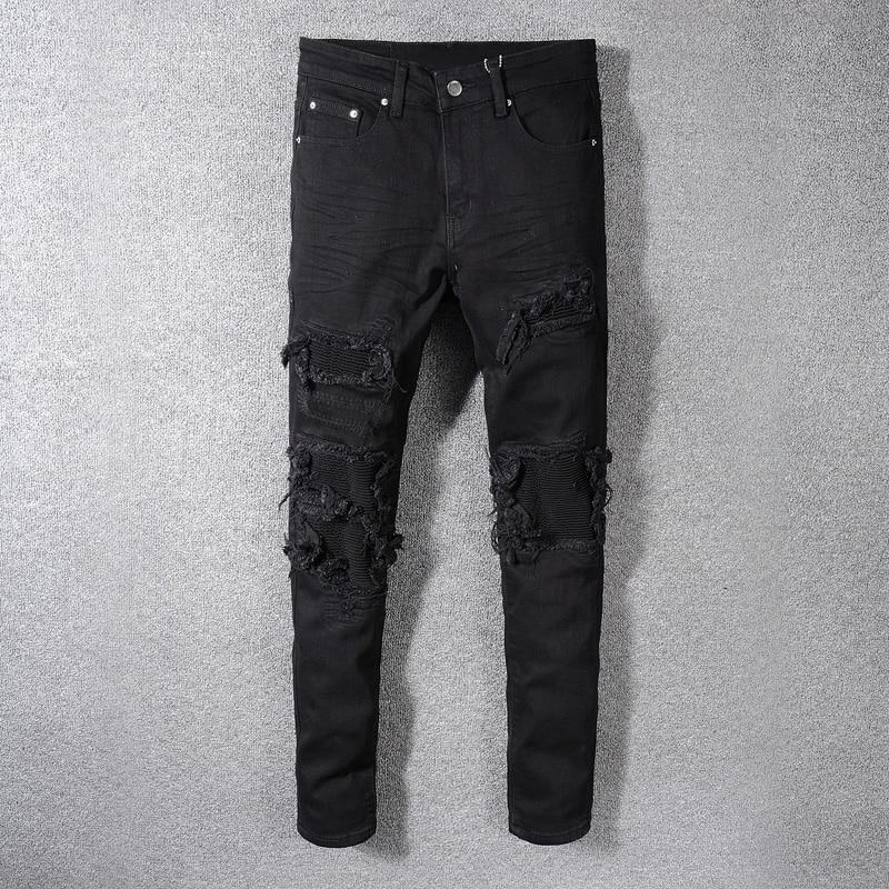 Fashion Streetwear Men Jeans Black Color Patchwork Destroyed Denim Pencil Pants Ripped Jeans For Men Hip Hop Skinny Jeans hombre
