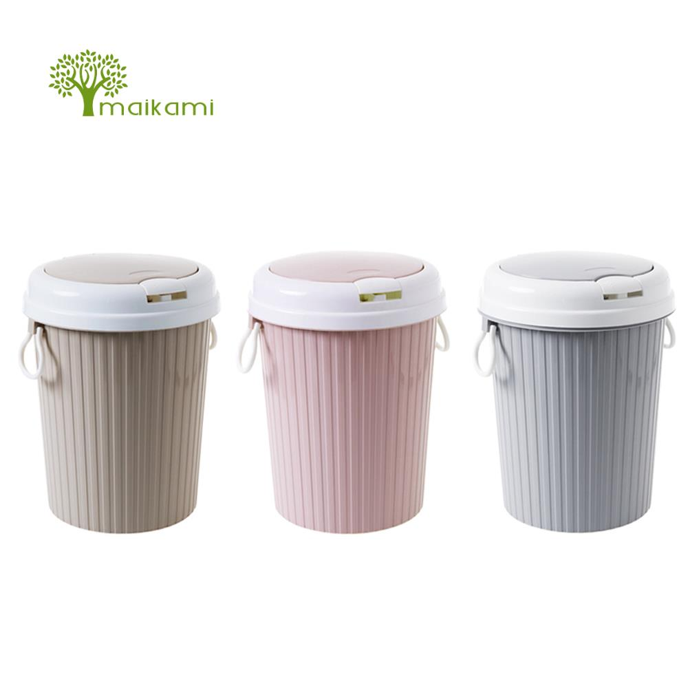 MAIKAMI New Fashion Trash Can Kitchen And Toilet Rubbish Bin Plastic Waste Bin Dropshipping