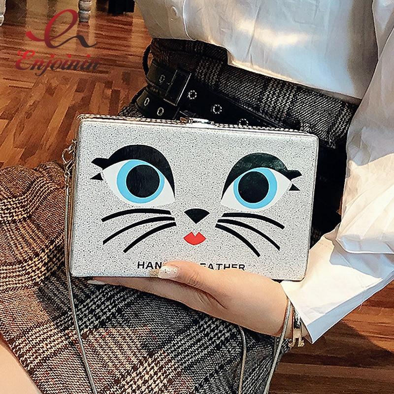 Cute Cartoon Cat Pattern Fashion Ladies Party Purse Clutch Bag Pu Leather Handbag Shoulder Bag Female Crossbody Messenger Bag
