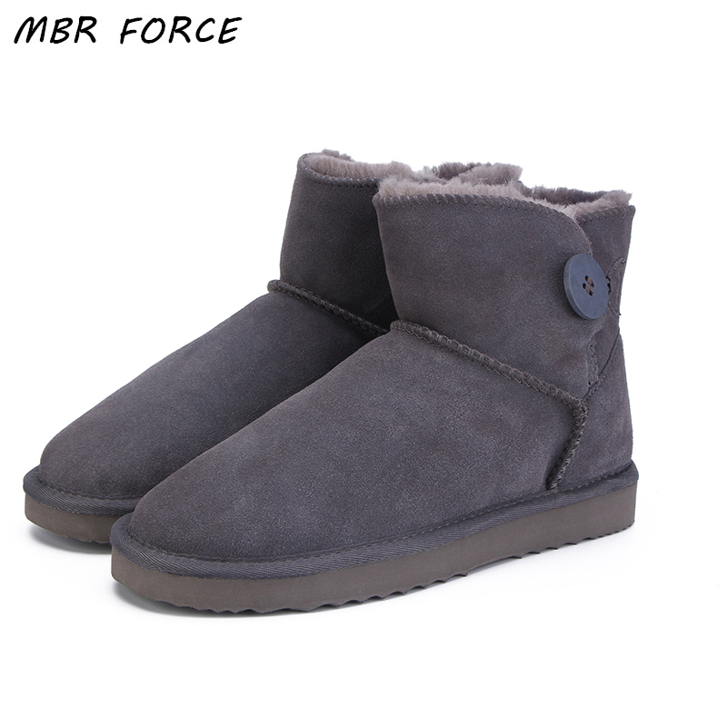 MBR FORCE Top Quality Women Genuine Cowhide leather Button Snow Boots Fur snow boots Warm winter shoes Ankle UG Boots Size 34-44