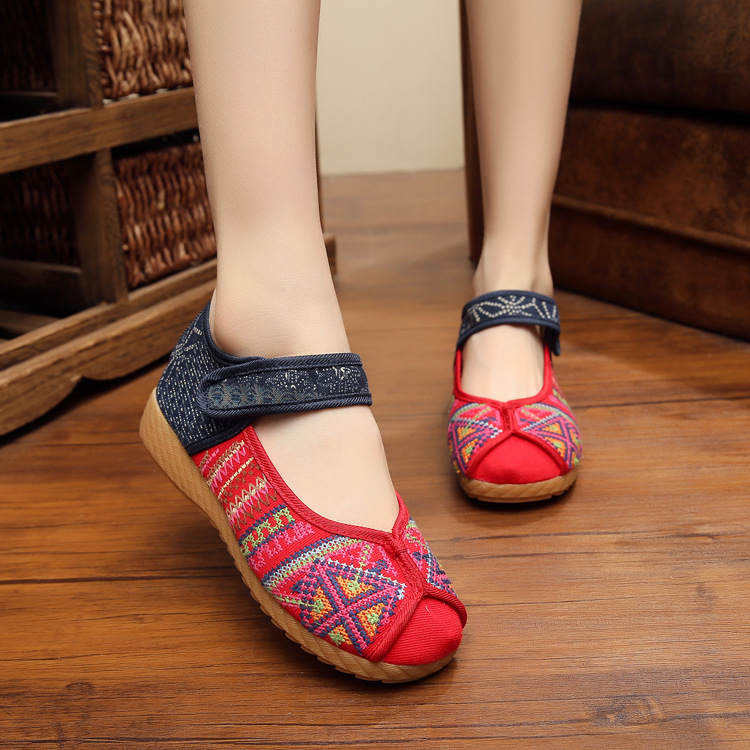 Dragon Old Beijing Embroidered Women Shoes Mary Jane Flat Heel Denim Chinese Style Casual Cloth Plus Size 5colors Shoes Woman