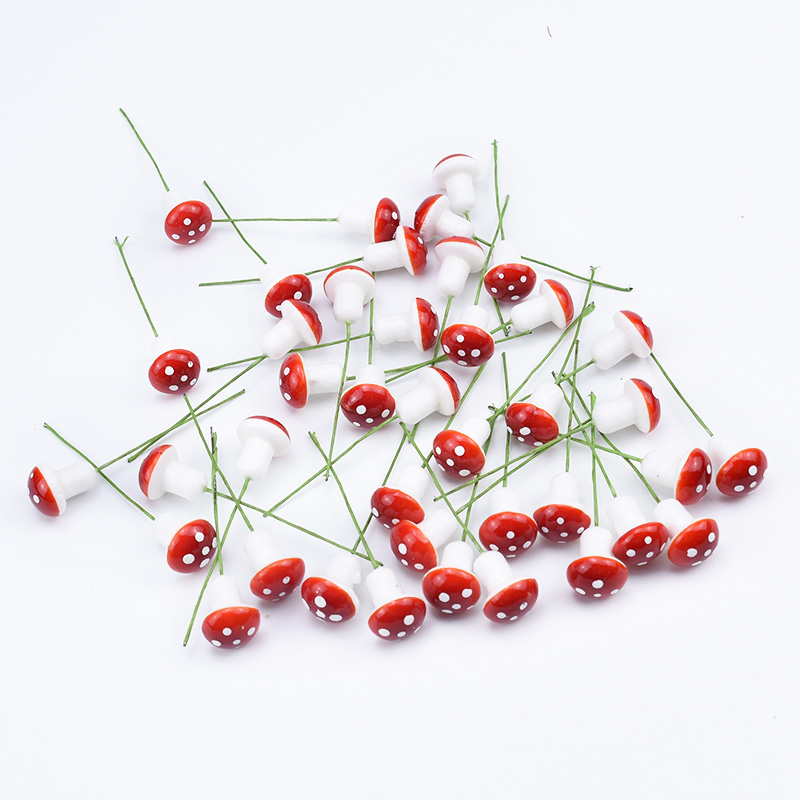 30pcs PE Cute Mushroom Foam Christmas Fruit Artificial Plants Decorative Flowers Wreaths Diy Gifts Box Scrapbooking Home Decor