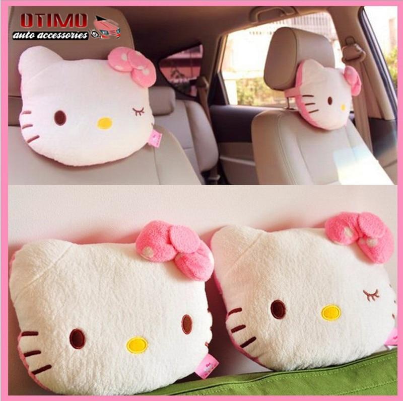 2Pcs Pink Hello Kitty Car Pillow Baby Car Headrest Neck Pillow Cartoon Plush Kids Child Car