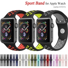 Elastic breathable silicone sport band for apple watch with 42 mm 38 44 40 wrist iwatch series 4321 universal