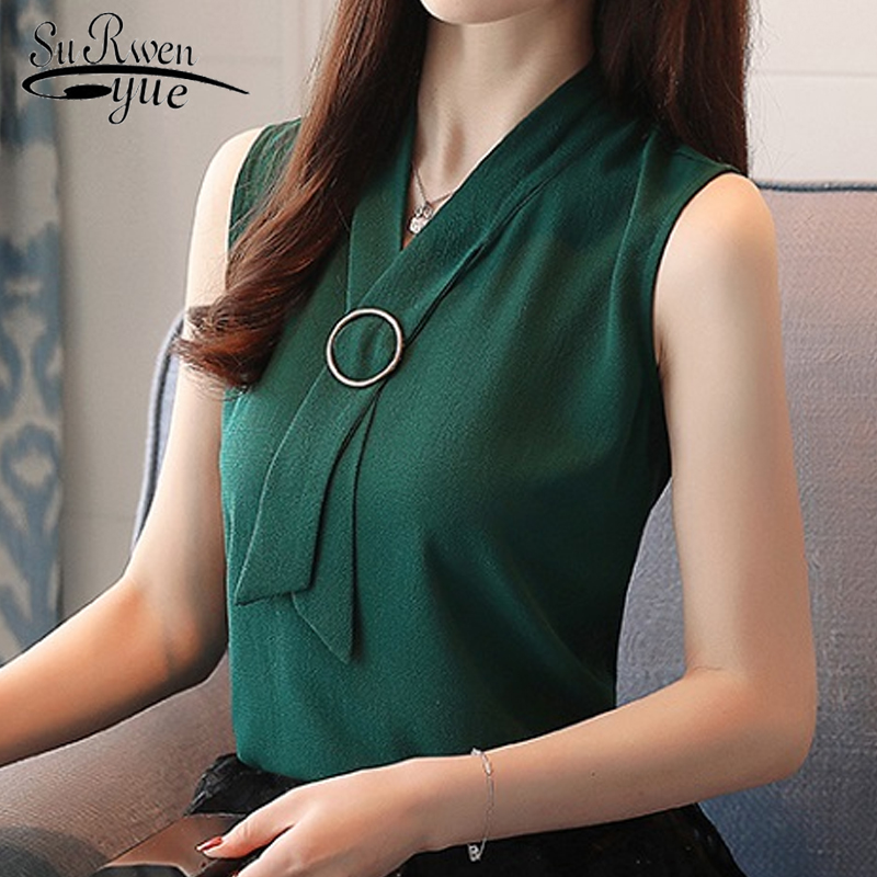 Fashion feminine   blouses   women   shirt   Summer Sleeveless ladies tops office lady   shirt   chiffon women   blouse     shirt   blusas 0234 40