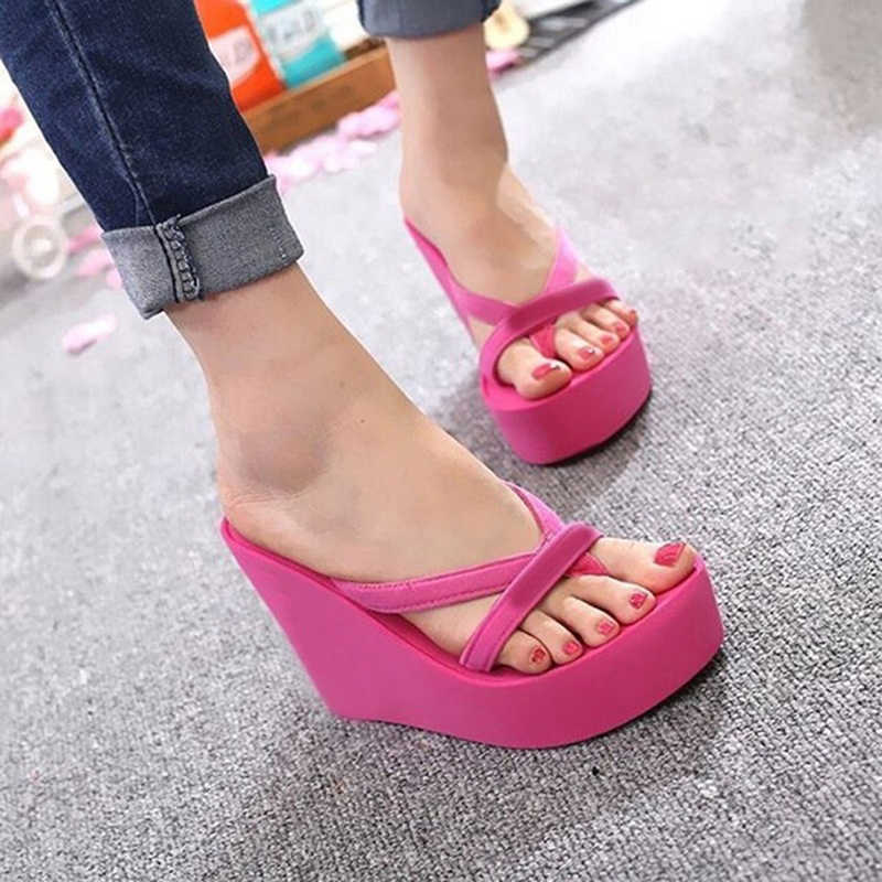 Oeak/Женские повседневные летние шлепанцы на платформе; вьетнамки на танкетке; простая плотная пляжная обувь; женская пляжная обувь на толстой подошве