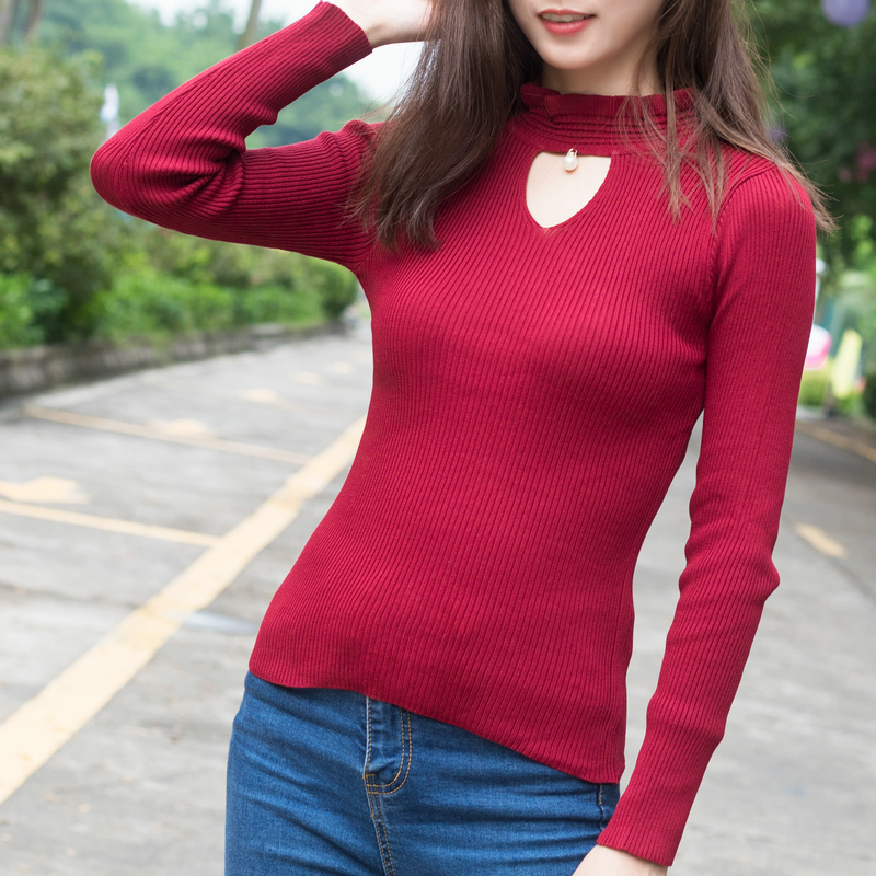 Fancy Trade New Collection Women Autumn Winter Casual Ruffled Collar Solid Thin Knitted Full Sleeves Casual Pullovers Female Slim Fit Suits