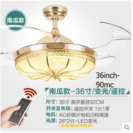 Fashion 36/42inch 3 colors dimming contro ceiling fans light restaurant electric fan lamp simple living room85-265v ceiling lamp