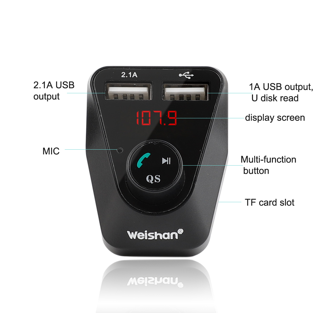 Weishan Hands Free Wireless Bluetooth FM Transmitter TF AUX Modulator Car Kit MP3 Player in Bluetooth Car Kit from Automobiles Motorcycles