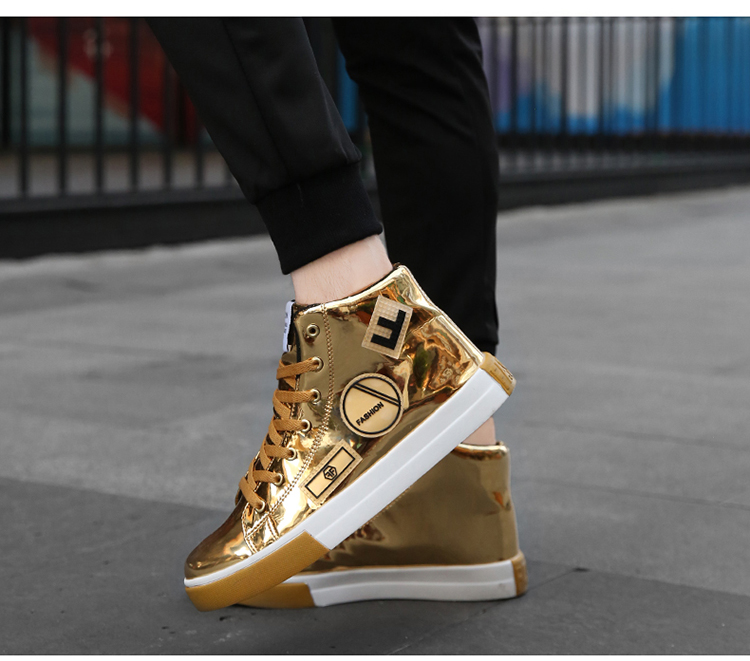 2018 Men leather casual shoes hip hop Gold fashion sneakers silver microfiber high tops Male Vulcanized shoes sizes 46 3