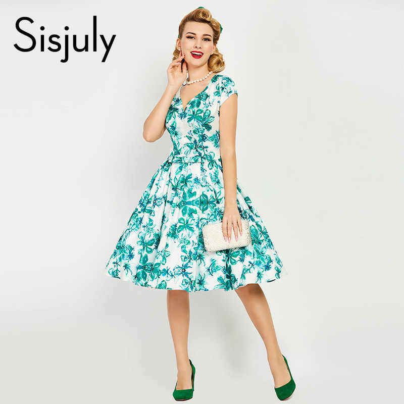 e4bb3b5893f Sisjuly vintage dress 1950s floral print summer green dresses party elegant  v-neck retro dress