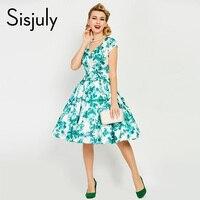 Sisjuly Vintage Dress 1950s Flower Print Summer Green Dresses Party Elegant V Neck Retro Dress A