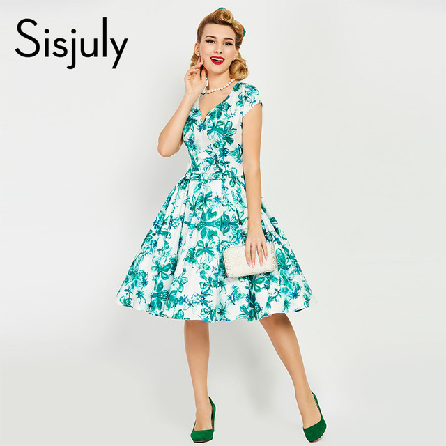 Sisjuly vintage kleid 1950 s blumendruck sommer grün kleider party elegante  v-ausschnitt retro kleid d039a4b8e9