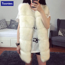 Winter Fur Vest Women Fox Vest Hair Thin Slim Fake Fur Sleeveless Long Coat Women's Winter Jackets Coat Female Autumn Waistcoat