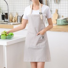 Fashion Simple SmallFresh Stripe Kitchen Antifoul Apron Pinafore Woman Cooking Accessories Cafe Restaurant Flower Shop Overalls