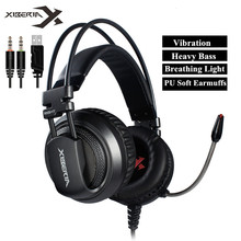 Best Computer Gaming Headset Headband with Microphone Mic XIBERIA V10 Heavy Bass Stereo Game Headphone with Light for PC Gamer