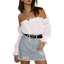 Women Tops Blouse Autumn One-neck Tie with Lantern Sleeves Shirt Women Off Shoulder Top Long Sleeve White Blouse Ladies Tops цены