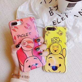 For iPhone X 6 6S 7 8 Plus Cut Bear Winnie Pooh Piglet Blue Light Case Phone Holder Ring Air Bag Multifunction Stand and Grip winnie the pooh iphone case