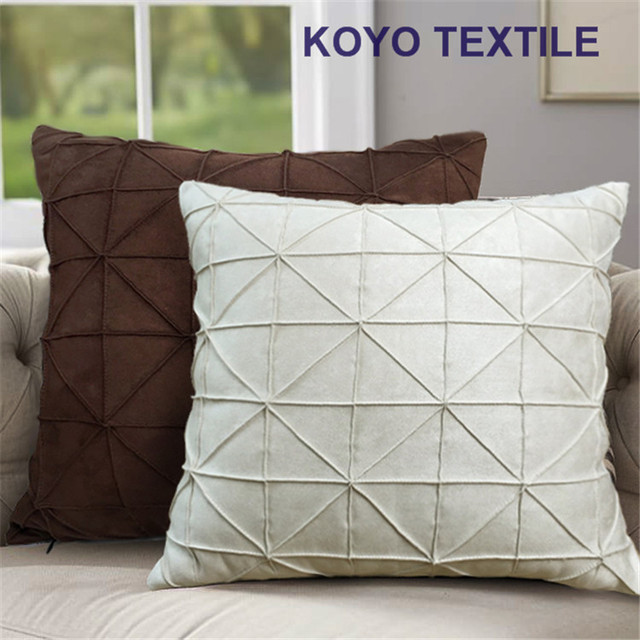 High Quality Modern Fashion Luxury Decorative Handmade Pintuck Plaid Mock Suede Pleat  Check 3D Sofa Cushion Cover Throw