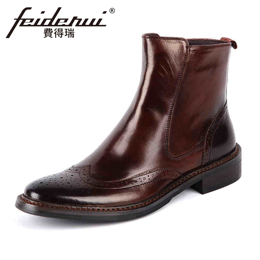 Vintage Genuine Leather Mens Ankle Boots British Designer Round Toe Zip High-Top Cowboy Riding Man Wingtip Brogue Shoes YMX52
