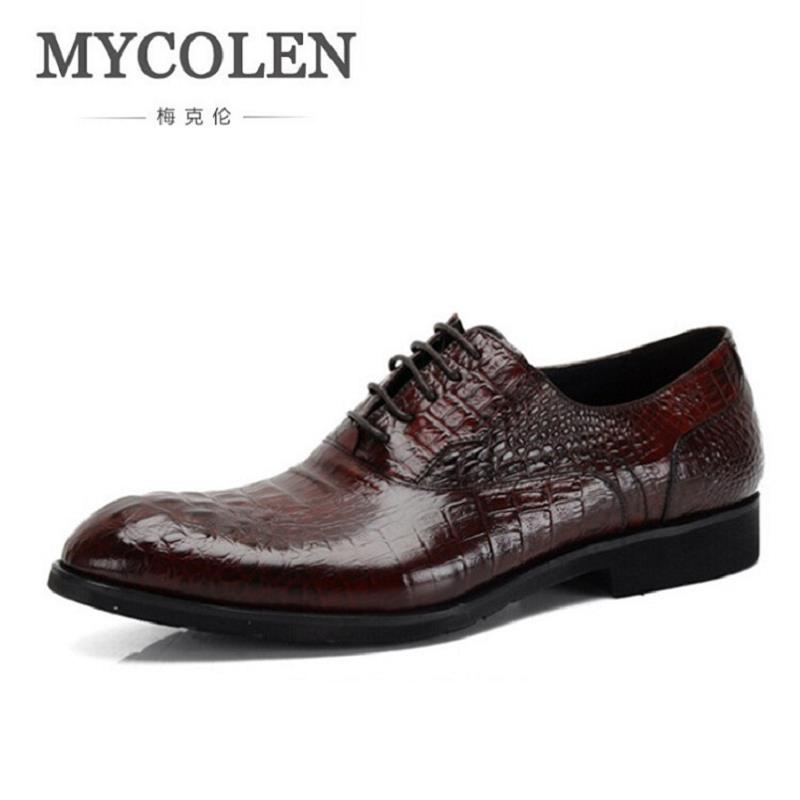 MYCOLEN Men Italian Elegant Formal Dress Leather Shoes Winter Luxury Crocodile Pattern Male Footwear Fashion Oxford Shoes Men 2017 new italian modern men formal oxford shoes genuine leather crocodile print brown lace up dress men s footwear 1815 810