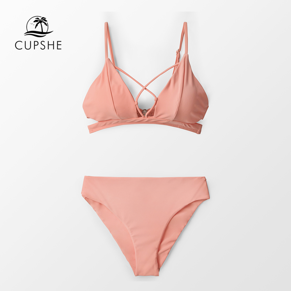 855e6a6695b4c CUPSHE Sexy Pink Crisscross Bikini Sets Women Solid High Waist Two Pieces  Swimsuits 2019 Girl Beach Bathing Suits Swimwear