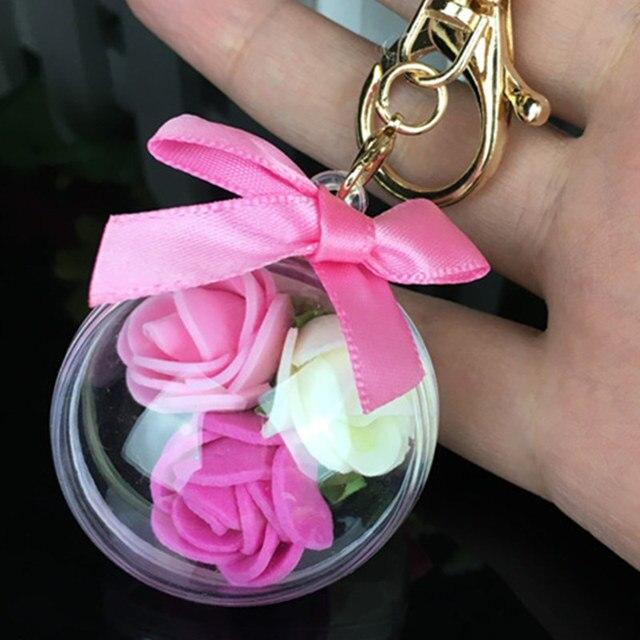 2017 nova bugiganga Keychain pompons flor chaveiros Chaveiro pele pom pom fofo chaveiro para carros chaveiros bugigangas keychain