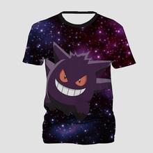 c1324e6aa Galaxy Pokemon Gengar 3D Print T Shirt Men Women Hip Hop T-shirt Short  Sleeve